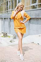 Молодежное летнее женское платье рубашка свободного кроя рукав три четверти креп коттон