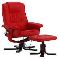 Кресло для отдыха с массажем + обогрев КРАСНОЕ