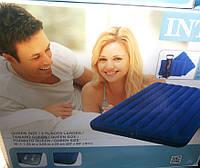 Двухместный надувной матрас Intex 68765 + ручной насос и 2 подушки (203см x 152см x 22 см)