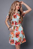 Отличное летнее платье-рубашка в цветочный принт с пояском на талии