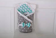 Конверт-одеяло «Мятный» для новорожденных