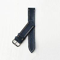 Кожаный синий с бежевой строчкой ремешок для часов