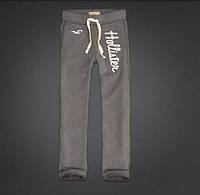 Штаны мужские спортивные Hollister cветло-серые и белые