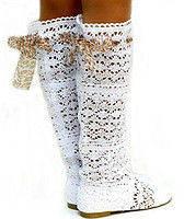 Сапоги летние женские вязка белые V0001