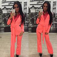 Женский стильный летний костюм : пиджак, штаны bootleg (4 цвета)+(Большие размеры)