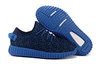 Стильные синие  мужские кроссовки будущего Adidas Yeezy Boost 350 Low Navy Blue (модные новинки лето)
