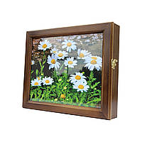 Ключница настенная деревянная 35х29см с фото под стеклом