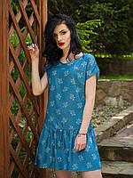 Очаровательное молодежное платье из тонкого джинса низ украшен декоративными складками