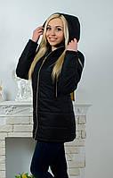 """Удлиненная женская демисезонная куртка """"Рита"""" (42-54) черная"""