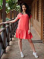 Хлопковое молодежное платье низ украшен декоративными складками для модниц