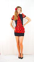Платье черное с красным шифоновим жабо
