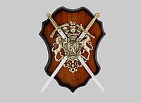 Сувенирное панно с оружием, 2 скрещенных меча, 420 сталь, без заточки