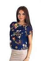 Оригинальная молодежная блуза свободного кроя из шифона с открытой спиной