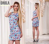 Женское летнее короткое платье в цветочек 42-46