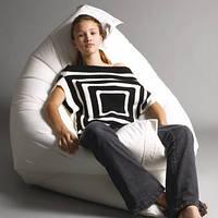 Велюровое кресло мешок подушка бело-молочное 140*180 см, кресло-мат