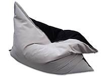 Двухцветное велюровое кресло мешок подушка бежевое 140*180 см, кресло-мат