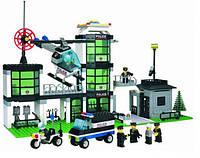 Конструктор Брик Полицейский участок 110, 430 деталей, 7 фигурок, вертолет, авто, база спасателей
