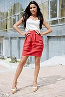 Яркая женская юбка тюльпан в складку с завышенной талией длины мини трикотаж
