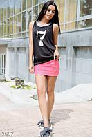 Эффектная летняя женская юбка мини с карманами и ярким поясом коттон