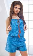 Джинсовый женский комбинезон с шортами в горошек свободного кроя на тонких бретелях