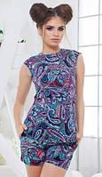 Повседневный принтованный женский костюм с шортами и приталенной блузкой без рукавов коттон