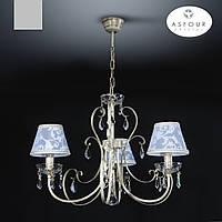 Люстра 3 ламповая с хрусталем и абажурами для небольшой комнаты, спальни, кабинета