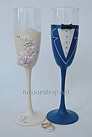 Свадебные бокалы  в синем и айвори нарядах