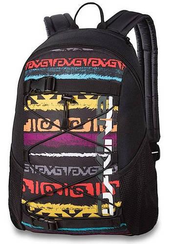 Прикольный мужской рюкзак с цветной этновставкой на фасаде Dakine WONDER 15L ruins 610934903454 черный