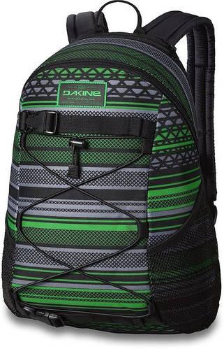 Полосатый мужской рюкзак с креплением для скейта Dakine WONDER 15L verde 610934903461 черный/зеленый