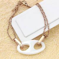 001-0445 - Оригинальный браслет с белой керамической вставкой плетение Сингапур розовая позолота, 18+3 см