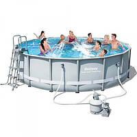 Каркасный бассейн семейный круглый Bestway  488*122 см с фильтрующим насосом
