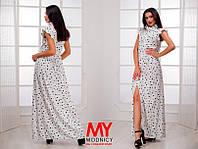 Платье  Штапельное  звёздочка с воланчиками цвет белый