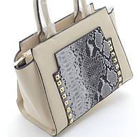 Качественная женская сумка из искусственной кожи модель 060-1 бежевая