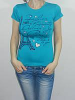 Короткая футболка женская стрйч Париж размер 42-46 Турция 3 цвета