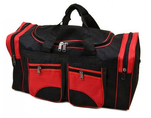 Практичная тканевая дорожно-спортивная сумка 47 л. 8947 red красный с черным