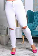 Женские брюки сзади с карманами Белые с прорезами