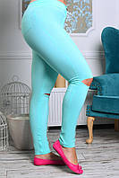 Женские брюки сзади с карманами Бирюза с прорезами