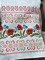 Скатерть льняная вышиванка маки орнамент
