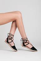 Женские сандалии эспадрильи черные на низком ходу с завязками
