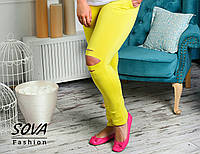 Женские спортивные штаны Желтые с порезами БАТАЛ
