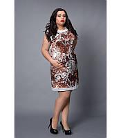 Модное платье с гипюром больших размеров, р 46-54