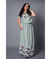 Платье в пол из штапеля Лорен зеленая ромашка, большие размеры р 50-56