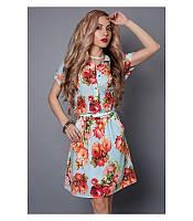 Шифоновое платье рубашка под пояс, р 46-52
