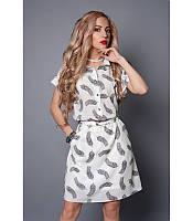 Легкое платье рубашка из шифона белое перо, р 46-52