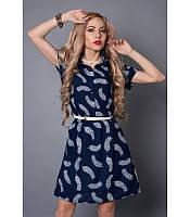 Легкое платье рубашка из шифона синее перо, р 46-52