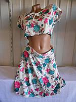 Женский костюм цветы (юбка+топик)