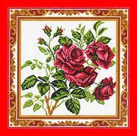 """Схема, вышивка нитками, канва, """"Ветка розы"""""""