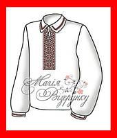 """Вышиванка сорочка подростковая для мальчика, вышивка бисером, габардин, """"Красное и черное"""""""