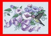 """Схема, вышивка нитками, канва, """"Колибри и цветы колокольчики"""""""