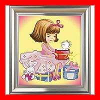"""Схема, частичная вышивка бисером, атлас, """"Девочка с подарком"""" (""""Сюрприз"""")"""